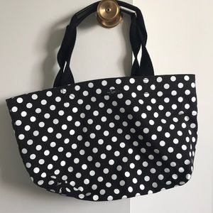 Kate Spade Black/White Polka Dot Fabric Small Tote